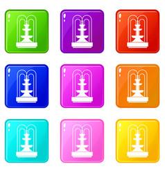 Fountain icons 9 set vector