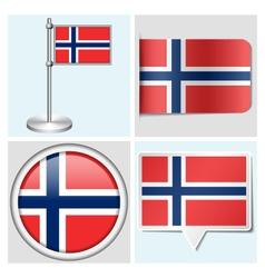 Norway flag - sticker button label flagstaff vector image