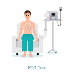 ecg test or the cardiac test with patient vector image