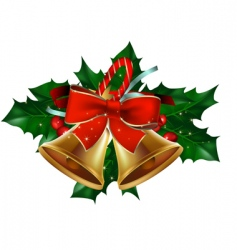 Christmas bells  holly berry vector