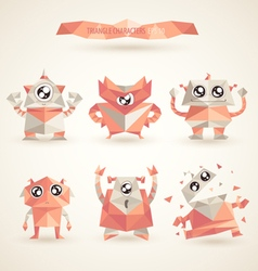 Cute characters robot set origami by triangles vector
