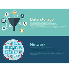 Flat design concepts for creative process big data vector