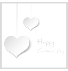 happy valentine with hanging hearts from paper vector image