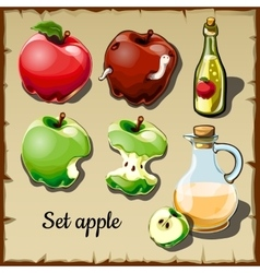 Set of red and green apples and drinks of them vector