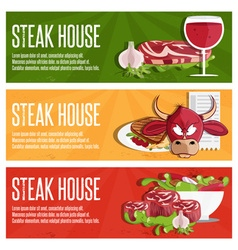 Steak house banners with bullmeatwine and salad vector