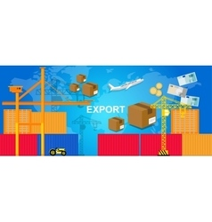 Exports trading transportation logistic harbor vector