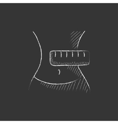 Waist with measuring tape drawn in chalk icon vector