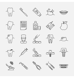 Dental clinic line icons vector