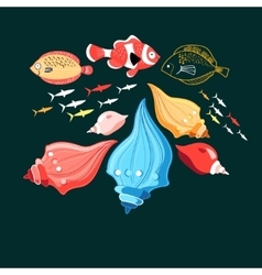 A fish and shells vector