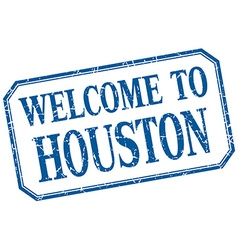Houston - welcome blue vintage isolated label vector