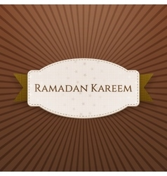 Ramadan kareem paper badge with text and ribbon vector