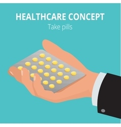 Man holding blister pack of pills in his hands vector