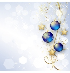 Background with Christmas baubles and snowflakes vector image