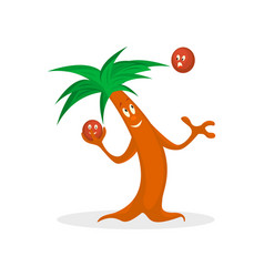 Cartoon palm tree with kakos vector
