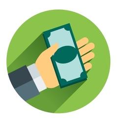 Cash on hand cartoon business vector image