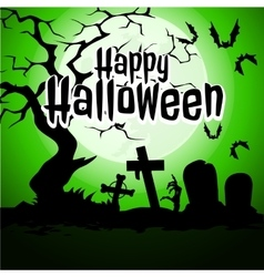 Cemetery and the sky green for halloween vector