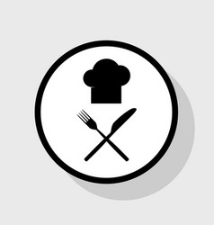 Chef with knife and fork sign flat black vector