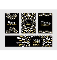 Christmas and new year set of gold card designs vector image