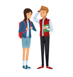 Colorful couple students standing of girl in vector