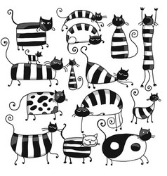 Cute striped cats family sketch for your design vector
