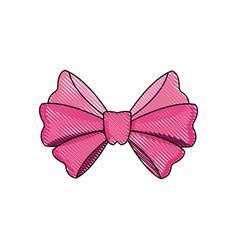 Drawing bow ribbon decoration celebration image vector