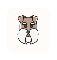 Flat color dog head icon vector