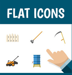 Flat icon farm set of lawn mower tool cutter and vector
