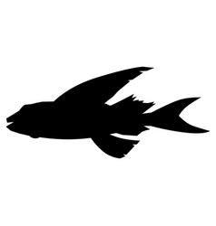 Flying fish side view vector
