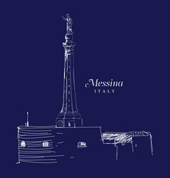 Freehand digital drawing of messina italy vector