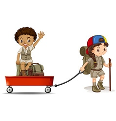 Girl pulling cart with boy sitting on it vector image