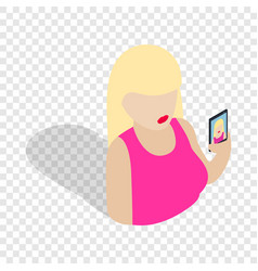 girl taking self photo isometric icon vector image