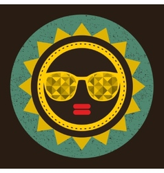 Golden sun with woman face in retro style vector