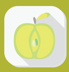 green apple sign icon with long shadow fruit with vector image