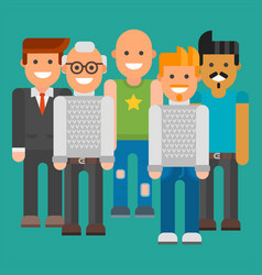 Group of men portrait different nationality vector