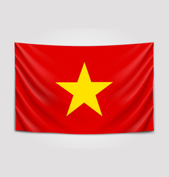 Hanging flag of vietnam socialist republic of vector