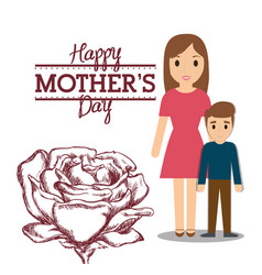 Happy mothers day mom with son and flower vector