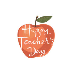 happy teachers day apple greeting card vector image vector image