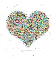 Heart symbol consisting of colored particles vector image