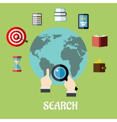 Man conducting a global search vector image vector image
