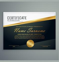 premium certificate design with golden stripe vector image vector image