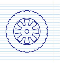 Road tire sign navy line icon on notebook vector