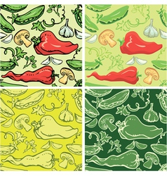 Set of seamless patterns with delicious vegetables vector image
