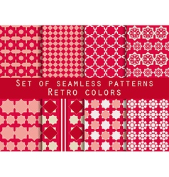 Set of seamless patterns with rhombus and squares vector image vector image