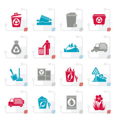 stylized garbage and rubbish icons vector image vector image