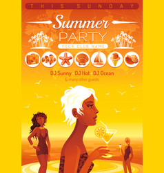 Summer party invitation flyer design sea beach vector