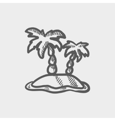 Two plam trees sketch icon vector