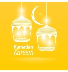 Yellow flat simple ramadan kareem vector