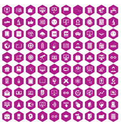 100 e-learning icons hexagon violet vector