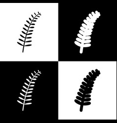 olive twig sign  black and white icons and vector image