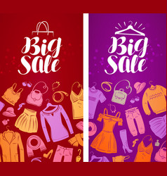 Big sale label shopping boutique clothing vector